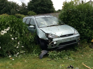 Car crashed at Turners Lane Sat 19 June 2014 cMC